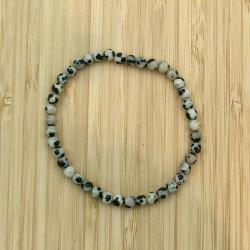 Bracelet  jaspe dalmatien 4mm