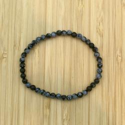 Bracelet obsidienne neige 4mm