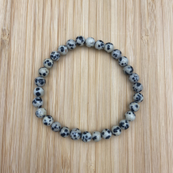 Bracelet  jaspe dalmatien 6mm