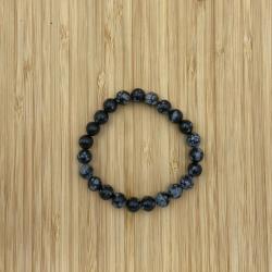Bracelet obsidienne neige 8mm